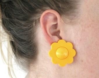Sixties Yellow Daisy Clip On Earrings Flower Hippie