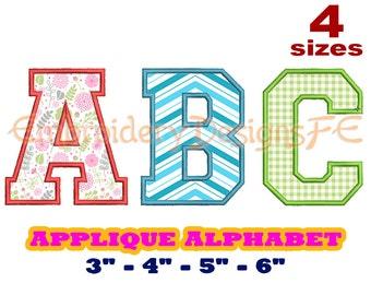 Alphabet Applique Design - 4 Sizes - Machine Embroidery Design File