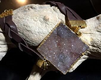 Druzy Leather Braided Bracelet