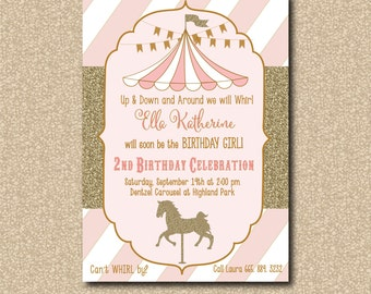 Adorable Carousel/Carnival Birthday Invitation with gold glitter detail / digital file / printable / wording and colors can be changed