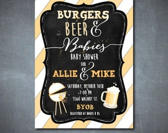 Couples Baby Shower Invitation/Baby Q invitation, Couples Baby Q, Burgers, Beer, Grill,Cookout/printable/Digital File/wording can be changed