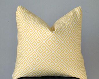 Yellow Greek Key Pillow Cover Geometric Pillow Yellow White Throw Pillow 18x18 inch Decorative pillows pillow Home Decore Handmade