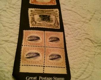 Postage stamp men's 100% silk handmade tie