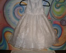 Toddler Fancy Party Flower Girl Dress Formal Costume Tulle Vintage Sweet Kids Flower Bodice Pearls Young Girl