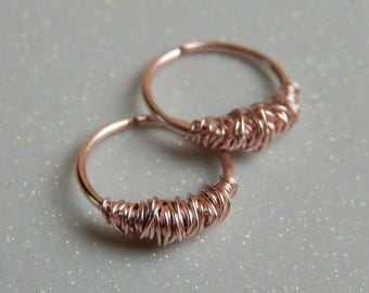 Rose Gold Hoops // Wire Wrapped Gold Hoops // rose gold cartilage hoop // rose gold hoop earrings