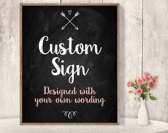 Custom Text Sign / Wedding Sign / Rustic Chalkboard, Arrow, Heart, Chalk Lettering / Custom Sign ▷ Printable File {or} Printed & Shipped