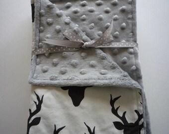 Minky Baby Blanket...baby boy blanket...deer head blanket...black deer heads on cream background...silver dimple dot Minky back