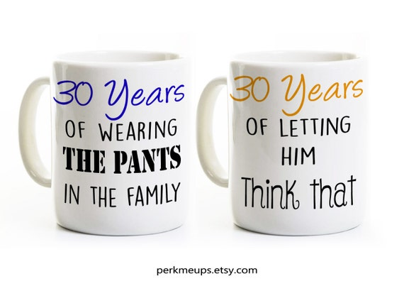 30th Wedding Anniversary Gift Ideas For Couples : 30th Anniversary GiftCouples Coffee Mugs CupsHis and Hers Coffee ...