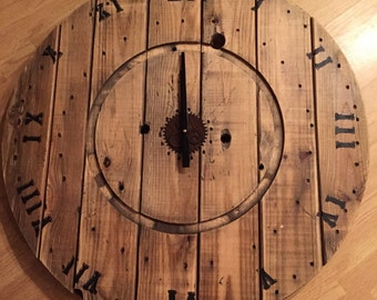 "35"" wooden spool clock"