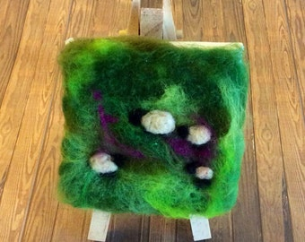 Sheep on the moors wool painting, needle felted sheep picture.