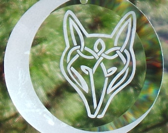 """Etched Celtic Wolf with Moon 4"""" Glass Ornament - Suncatcher, Wolf, Sun-catcher, Celtic Knot, Wolf Knot, Moon, Crescent moon, Wolf moon,"""