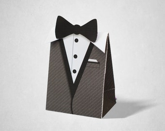 Black Tie Theme Party Gift Favor Box / Goodie Bag / Loot Bag