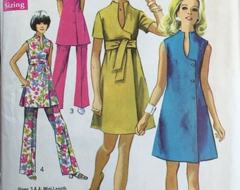 Simplicity 8278; ©1969; Misses' Jiffy Dress or Tunic and Pants: Unused, Bust 37