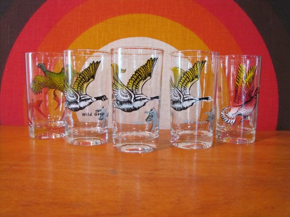 Vintage Wild Bird Glasses, Set of 5, Wild Geese, Wild Duck, Wild Pheasant, Retro Bird Hunting Glasses, Mid Centruy Barware, Wild Game