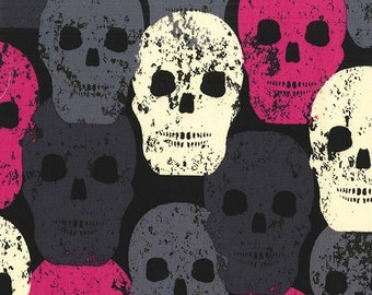 Skulls Out by Michael Miller - Skull of Rock Fuchsia - Cotton Woven