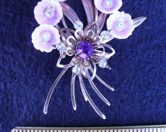 Gold Tone Rhinestone Flower Bouquet Brooch(15)