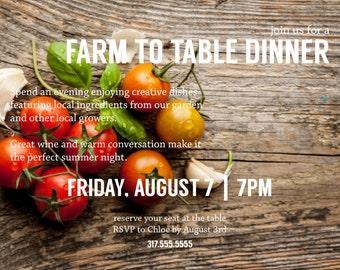 Rustic & Simple Farm to Table Invitation