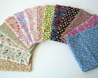 Small floral 8 designer cotton quilt fabric fat quarter bundle tiny flowers