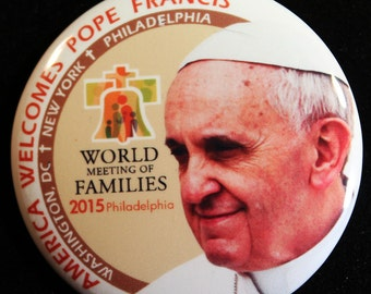 Pope Francis 2015 Philadelphia Papal Visit World Meeting of Families 2.25 Pinback Button