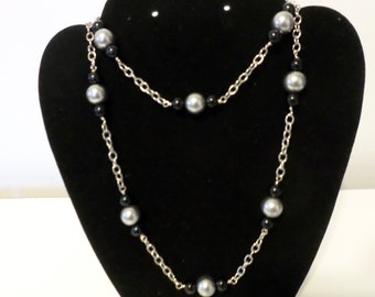 Gray and black long hanging necklace