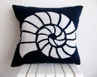 Nautical Cushion Knitting Pattern : Nautical knit pillow Etsy