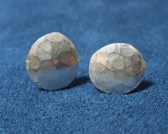 Small Sterling Silver Domed Hammered Stud Earrings