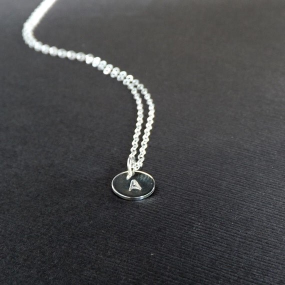 tiny initial necklace silver monogram pendant small