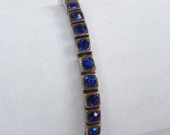 Vintage Art Deco Sterling Silver with Sapphire Blue Rhinestones Tennis Bracelet