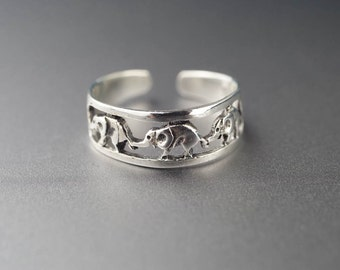 toe ring - sterling silver ring - adjustable ring - midi ring - knuckle ring - pinky ring elephant animal unique boho ring bohemian ring
