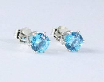 Paraiba Tourmaline Silver Stud Earrings / Neon Blue Round Brilliant Cut in 100% Eco-Friendly Recycled Sterling Silver Earrings for YOU!