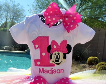 Personalized Minnie Mouse Birthday shirt only.