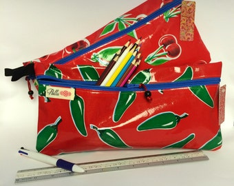 Long Pencil case, Oilcloth Zip Pouch, Blue and Red Travel pouch, diary/folio pouch, pencil case for ruler