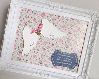 Personalised wooden angel wings  memory frame