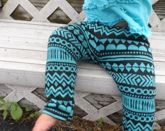 Fall/Winter Aztec Tribal Baby/Toddler Leggings Black and Teal Pants 0-2T