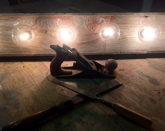 Rustic barn wood Bathroom Vanity Light bar with Indiana re-claimed Barn wood