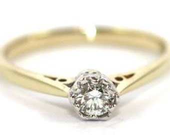 Sale!  Gold 0.25 crt. solitaire diamond ring