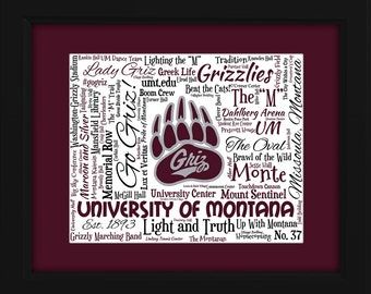 University of Montana 16x20 Art Piece - Beautifully matted and framed behind glass