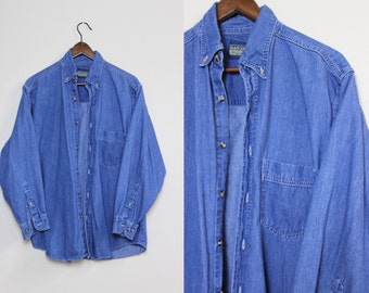 Blue Denim Button-Up / Vintage Denim Shirt / Chambray Shirt