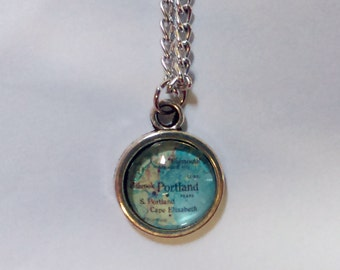 Portland, Maine Map Necklace