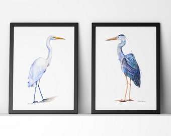 Bird Art Print Set - Heron and Egret Watercolor Print Set