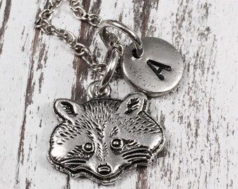 Raccoon charm necklace, animal necklace, raccoon jewelry, personalized, initial, animal jewelry, gift for friend