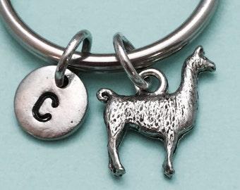 Llama keychain, llama charm, animal keychain, personalized keychain, initial keychain, initial charm, customized, monogram
