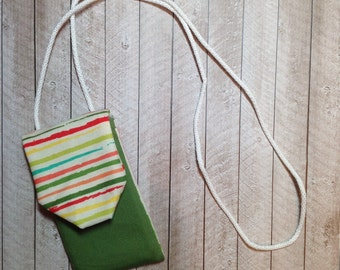 Green Cell Phone Case with contrasting Stripes