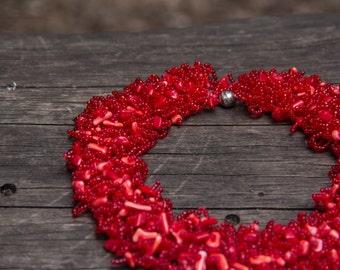 Red Coral Necklace Elegant Beaded Necklace Collier de Corail Rouge Collar del Coral Rojo Collana di Corallo Rosso Красное Ожерелье Кораллы