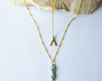 Tiny Wish Bone on 18K Gold Fill - 18K Gold filled Necklace/Precious Pendant/Very pretty and dainty looking!