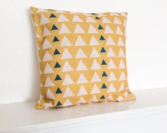 """Yellow Triangles Geometric/Scandinavian Cotton Linen Cushion Cover 18 x 18"""""""