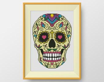 BUY 2, GET 1 FREE! Sugar skull Cross Stitch Pattern, Cross stitch pattern mexico, pdf counted cross stitch pattern, Instant Download, #P070