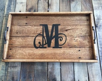 Monogrammed serving tray, Serving Tray, Wood serving tray, Wood tray