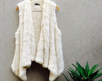 Cream Rabbit Fur Vest, Rabbit Fur Vest, Rabbit Fur Top, Rabbit Vest, Called Dana cream.