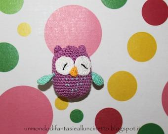 Crocheted owl - amigurumi - lucky charm